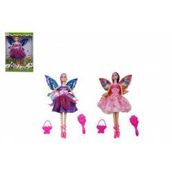 Panenka s křídly kloubová s doplňky plast 30cm 2 druhy v krabici 20,5 x 32 x 6cm