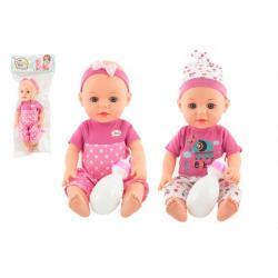 Panenka/miminko 31cm pijící a čůrající pevné tělo s lahvičkou 2 barvy v sáčku