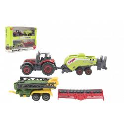 Sada farma traktor s příslušenstvím 4ks kov/plast mix druhů v krabici 21x15x6cm