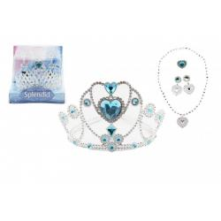 Sada krásy plast korunka, náhrdelník, naušnice, prsten 5ks mix druhů v blistru 15x13x15cm