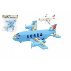 Letadlo plast 20cm na zpětný chod 2 barvy v sáčku
