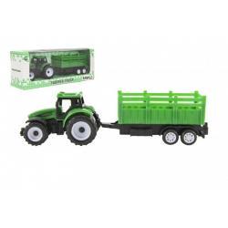 Traktor s vlekem plast 21cm na volný chod 2 barvy v krabičce 23x9x6cm
