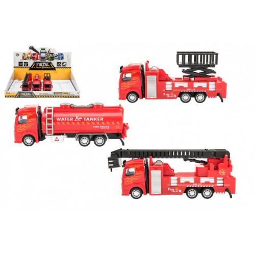 Auto hasiči kov/plast 21-23cm na zpětné natažení 3 druhy 6ks v boxu