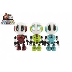 Robot kov/plast 12cm opakující slova na baterie se světlem se zvukem 3 barvy 12ks v boxu