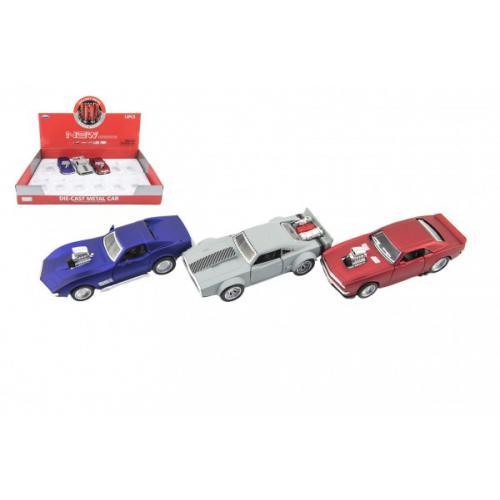 Auto sportovní kov/plast 12cm na baterie se zvukem mix druhů na zpětné natažení 12ks v boxu