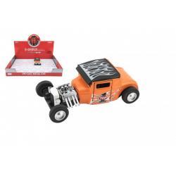 Auto sportovní kov/plast 12cm na baterie se světlem se zvukem 4 barvy na zpětné natažení 12ks v boxu