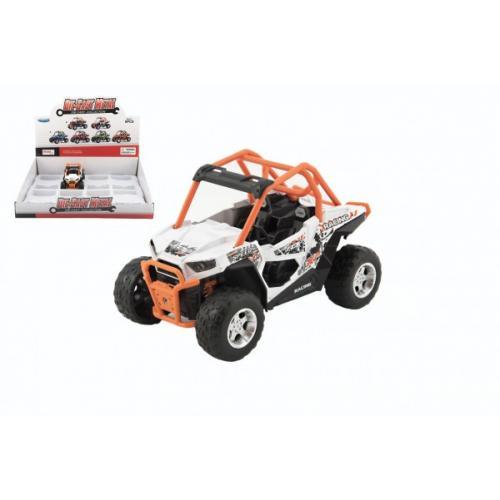 Auto buggy kov/plast 14cm na baterie se světlem se zvukem 2 barvy na zpětné natažení 8ks v boxu