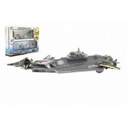 Letadlová loď 24cm + stíhačky 3 ks plast v krabici 29x22x7cm