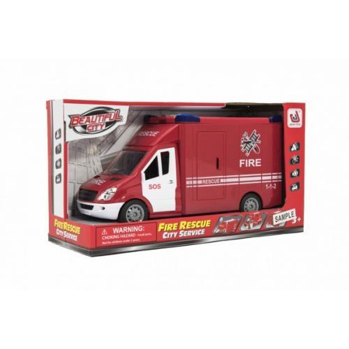 Auto hasiči plast 28cm na setrvačník na baterie se zvukem se světlem v krabici 32x18x12cm