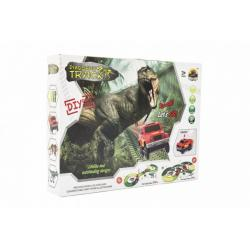 Dráha dino + auto 10x5cm plast 141ks na baterie s doplňky v krabici 35x27x6cm