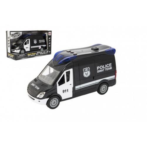 Auto policie swat plast 26cm na setrvačník na baterie se zvukem se světlem v krabici 30x17x11,5cm