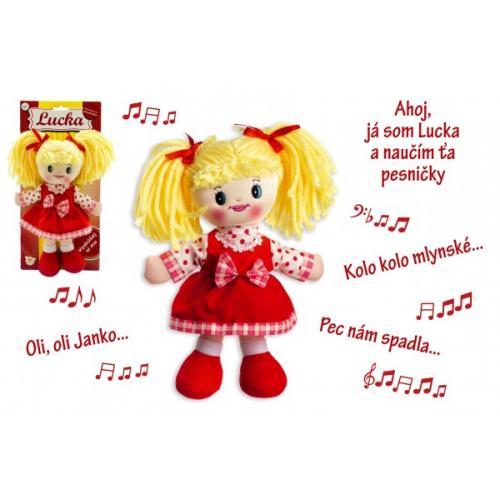 Bábika Lucka handrová plyš 30 cm slovenský spievajúci na karte 0+