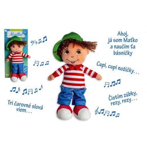 Bábika chalan Maťko handrová plyš 30cm slovensky hovoriaci na karte 0+