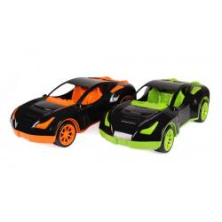 Auto sportovní plast 38x17cm na volný chod 2 barvy v síťce