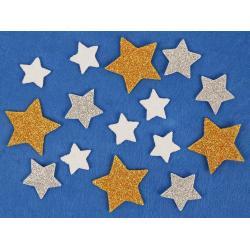Samolepky pěnové glitterové 15 hvězdy
