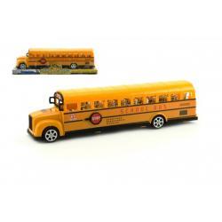 Autobus školní plast 30cm na setrvačník v blistru