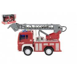 Auto hasiči stříkací vodu 20cm plast na setrvačník na bat. se zvukem se světlem v krabici 24x16x12cm