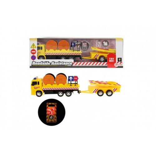 Auto nákladní plast 17cm silniční pomoc se svítícím značením s doplňky na baterie v krabici 32x10x7