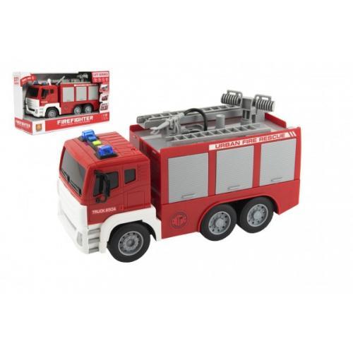 Auto hasiči stříkací vodu 32cm plast na setrvačník na bat. se zvukem se světlem v krabici 35x21x14cm