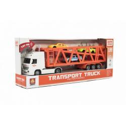 Kamion přepravník + 3 auta plast 33cm na setrvačník na bat. se světlem se zvukem v krabici 37x15x8cm