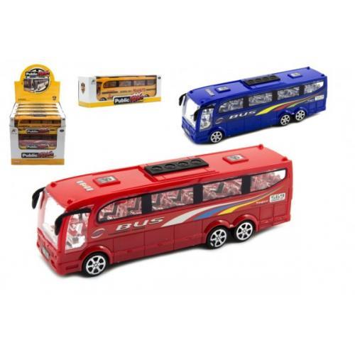 Autobus plast 25cm na setrvačník 3 barvy v krabici 26x8,5x7cm 12ks v boxu