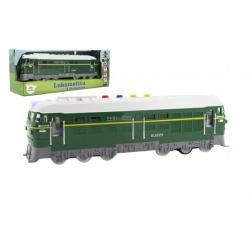 Lokomotiva/Vlak zelená plast 35cm na baterie se zvukem se světlem v krabici 41x16x12cm