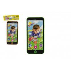 Telefon Mobil plast 7x14cm na baterie se zvukem 4 barvy v sáčku