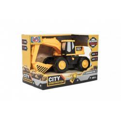 Stavební stroj bagr/nakladač 20cm na setrvačník na baterie se světlem a zvukem v krabičce 21x14x11cm