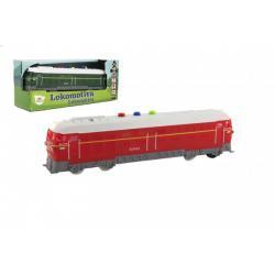Lokomotiva/Vlak plast 23cm na baterie se zvukem se světlem 2 barvy v krabičce 27x11x8cm
