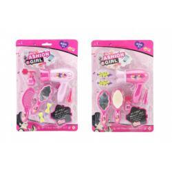 Sada krásy/Malá kadeřnice s fénem a doplňky plast 2 druhy na kartě 18,5x27,5 cm 12ks v boxu