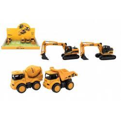 Stavební stroj plast 11-14cm na setrvačník 4 druhy 12ks v boxu