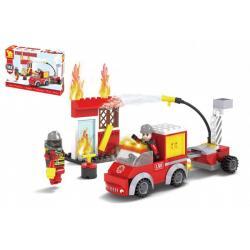 Stavebnice Dromader hasiči 142 dílků v krabičce 22x15x5cm