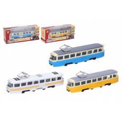 Tramvaj kov/plast 16cm na zpětný chod na baterie se světlem se zvukem 3 barvy v krabičce 22x9x6cm