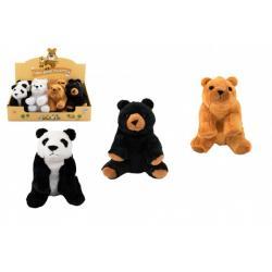Medvěd sedící plyš 16cm 4 barvy 8ks v boxu 0m+