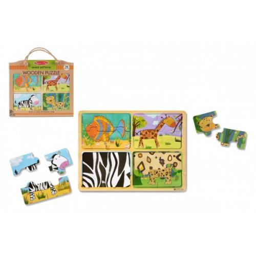 Dřevěné puzzle deskové na cestu Zvířata 16ks v papírové tašce 31x27,5x1cm 2+
