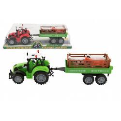 Traktor s vlekem a zvířátky plast 34cm na setrvačník 2 barvy v blistru
