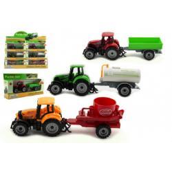 Traktor s přívěsem plast/kov 19cm 3 druhy na volný chod v krabičce 25x13x5,5cm 12ks v boxu