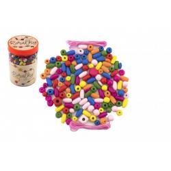 Korálky dřevěné barevné s gumičkami cca 900 ks v plastové dóze 9x13,5cm