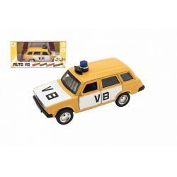 Policejní auto VB combi kov/plast 11,5cm na zpětné natažení na baterie se zvukem v krabičce 15x7x7cm