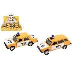 Policejní auto VB kov/plast 11,5cm na zpětné natažení na baterie se zvukem 2 druhy 6ks v boxu