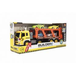 Kamion s přepravníkem 38cm plast s bagrem na setrvačník na bat. se světlem se zvukem v krabici