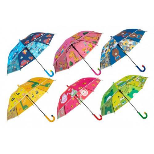 Deštník vystřelovací 66cm kov/plast mix barev v sáčku