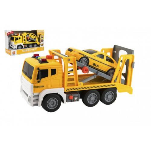 Auto kamion přepravník+1 auto plast na setrvačník na bat. se zvukem se světlem v krabici 36x21x14