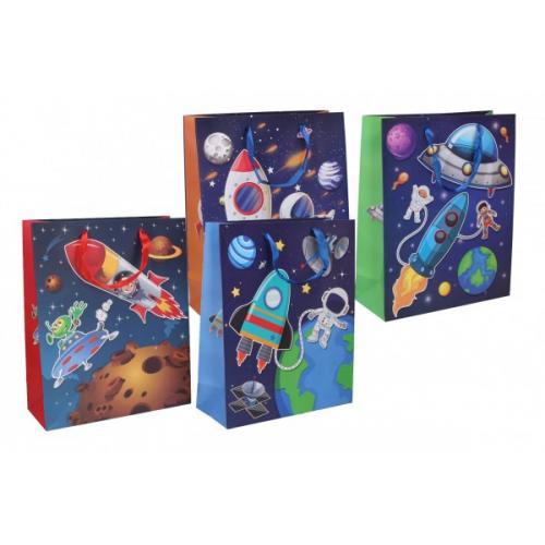 Dárková taška dětská vesmír mix barev 26x32x10,5cm