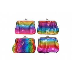 Peněženka dívčí duhová plast 12x10cm mix barev v sáčku