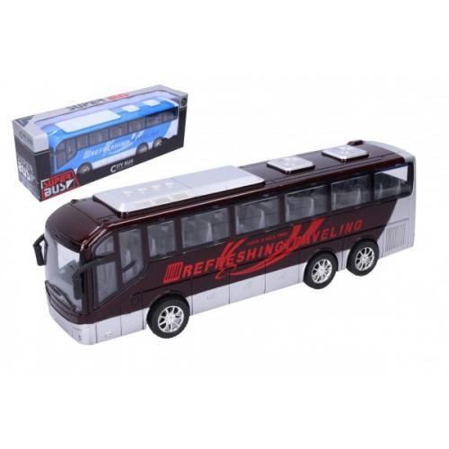 Autobus plast 32cm na setrvačník 2 barvy v krabici 37x13x9cm