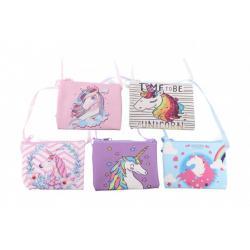 Peněženka dívčí s jednorožcem látková 12x9 cm mix barev