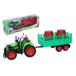 Traktor s vlečkou plast 35 cm na setrvačník 3 druhy v krabici 40x13x9cm