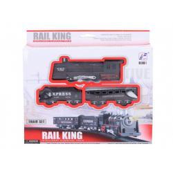 Vlak + 2 vagony s kolejemi plast 67,5x67,5cm na baterie se světlem se zvukem v krabici 25x23x4cm