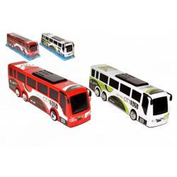 Autobus plast 35cm na setrvačník 2 barvy v blistru 10x12x37cm